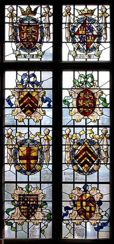 One of a pair of Peers' Windows in the Dining Hall of Clare College, Cambridge University, Cambridge, England.  The coats of arms Included are: Edward I; Eleanor of Castile; Gilbert de Clare, Earl of Gloucester; Joan of Acre; John de Burgh, Earl of Ulster; Elizabeth de Clare, The Foundres; Lionel, Duke of Clarence; and Elizabeth de Burgh