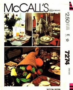 Amazon.com - McCall's 7274 Crafts Sewing Pattern Christmas Thanksgiving Table Settings - Sewing Templates