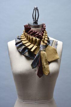 Upcycled stropdas sjaal zijde Ascot kraag gemaakt van ruw