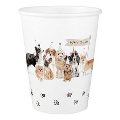 Dog Party Illustration Paper Cup - personalize design idea new special custom diy or cyo