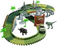 Lydaz Race Track Dinosaur World Bridge Create A Road 142 Piece Toy Car & Flexible Track Playset Toy Cars, 2 Dinosaurs - Toys Flirts Slot Car Race Track, Slot Car Racing, Dinosaur Tracks, Dinosaur Toys, 4 Year Old Boy, Jurassic Park World, Train Tracks, Toys For Boys, Kids Boys
