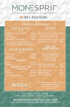 Beautifully Designed Menus And Price Lists For Salons  Salon