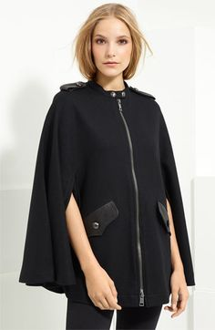 Burberry Brit Leather Trim Wool Cape