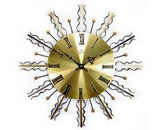 Vintage 1960s Black & Gold Metal Sun Ray Sunburst Retro Wall Clock