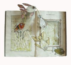 Altered book mixed media art/craft.  Printed paper with design or decoration of choice, an old book, marker, pen, basic sewing stitches    Altered books, sketchbooks and doodles by laurie clarke, via Behance