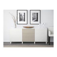 BESTÅ Storage combination w doors/drawers - Laxviken white/Selsviken high-gloss/beige, drawer runner, soft-closing, 180x40x74 cm - IKEA