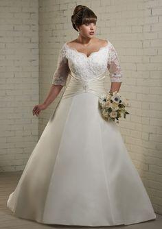 A-Line Bateau Neck Chapel Trailing 1/2 Sleeves Satin Plus Size Wedding Dresses