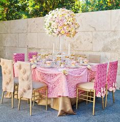 "Gold and pink gorgeous and regal tablescape - perfect for the ""Queen"" on Mother's Day!"