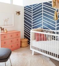 navy blue coral nursery - more girlie; love the painted drawers