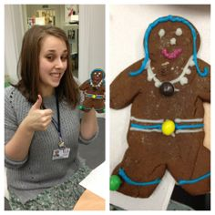 Laura S showing her gingerbread man decorated with a necklace anyone would be envious of