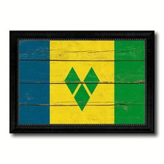 Saint Vincent & the Grenadines Country Flag Vintage Canvas Print with Black Picture Frame Home Decor Gifts Wall Art Decoration Artwork