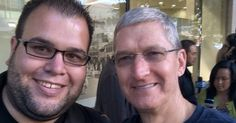 Sleeping on the sidewalk outside an Apple Store is totally worth it if Tim Cook shows up.