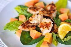 Papaya und Kokos Hühnerbrust-Salat fructosearm glutenfrei / Low Fat Coconut-Chicken-Salad