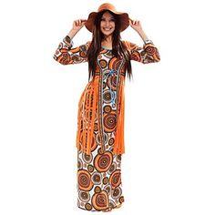 Hippie Kostüm Vintage für Damen aus Elastik-Jersey, mit angenähter Waschvelours-Weste, hinten mit Reißverschluss, Kleiderlänge: bei Gr. 36/38 ca. 140 cm. Material: 100 % Polyester.Lieferung ohne Schlapphut und Perücke.Peace, Love und Freedom – Willkommen in den blumigen 70gern! Egal ob Sixties Mottoparty oder Woodstock Revival – im Hippie Partyoutfit machen Sie immer eine gute Figur. Alles dreht sich um Flower Power und Musik. Im Hippie Kleid im Retr...
