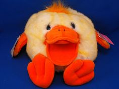 New product 'Fiesta Full Body Puppet QUACKERS Yellow Duck NO SOUND' added to Dirty Butter Plush Animal Shoppe! - $5.00 - Fiesta No. E01346 8 inch Diameter Round Full Body Pastel Yellow Chenille Fur QUACKERS Quacking Duck Puppet - White Hair …