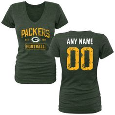 Women's Green Bay Packers Green Distressed Custom Name & Number Tri-Blend V-Neck T-Shirt
