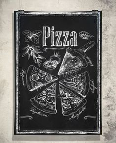 "Kitchen Chalkboard-Chalkboard Pizza Types Italian-Fast Food-Cooking-Chef-Tomatoes-Olives-Italian cuisine-Pizza Slices-Print 13x19"" No.781"