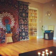 Bohemian hippie home with mandala tapestry. Very zen.