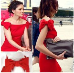 lady's red bow off shoulder dress, boat neck SLY full dress Neckline Designs, Dress Neck Designs, Blouse Designs, Sleeves Designs For Dresses, Dresses With Sleeves, Classy Dress, Classy Outfits, Frock Fashion, Cocktail Outfit
