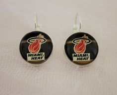 Miami Heat Earrings made from Basketball Trading Cards Upcycled #Handmade…