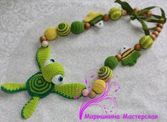 Baby toy - Necklace with turtle - Organic toy - juniper beads - pleasant to the touch - Teething necklace - Nursing necklace for Mommy