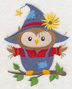 """Owl ScarecrowProduct ID:L6178 Size:4.84""""(w) x 6.19""""(h) (122.9 x 157.2 mm)Color Changes:12 Stitches:34210Colors Used:12     2 SIZES"""