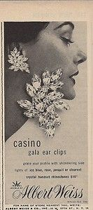 1956 Albert Weiss Rhinestone Casino Earrings Vintage Costume Jewelry Print Ad