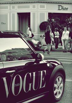 Mini Cooper with Vogue ad..