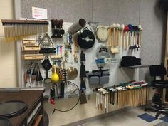 Does your band hall need a percussion room makeover? This article has pictures with great ideas of budget friendly ideas to keep percussion equipment safe. Music Room Organization, Music Studio Room, Music Rooms, Band Rooms, Drum Room, High School Band, Band Director, Drum Lessons, Music Lessons