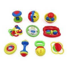 10 Piece Baby Rattle and Teether Toy Gift Set with Giant Baby Bottle Coin Bank - a brilliant friend of mine recommended keeping a bin of cheap baby toys in the car to keep baby busy and happy in the car; as soon as baby throws a toy out of the seat, you have a handy pile of toys to replace it. Plus, the car toys are different than baby's regular toys, so baby has a the benefit of novelty. This is a nice set of cheap car toys