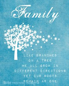 Family - like branches on a tree we all grow in different directions yet our roots remain as one. :)