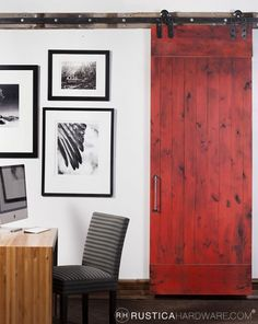 Sliding Barn door - not this particular door but I want this going to my master bath, maybe dark brown or weathered wood
