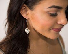 Diamond shaped jewel dangle earring
