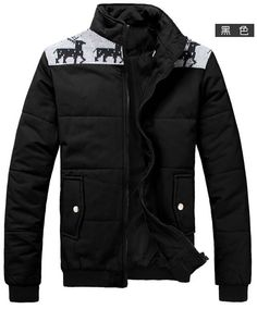 Stand Collar Long Sleeve Men Black Cotton Coat M/L/XL/XXL @1802SJyf02b