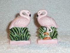 Vintage Pink Flamingo Salt and Pepper Shakers Kitschy Florida Decor
