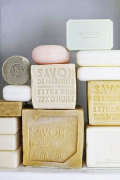 "French Savon de Marseille Soap - In 1688 it became law that only soaps made according to strict, ancient methods could bear the famous mark ""Savon de Marseille."" Few savonneries near Marseille still make this soap today."