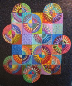 New York Beauty Quilt Twin/Large Wall Hanging by uniquelynancy Colorful Quilts, Small Quilts, Quilting Projects, Quilting Designs, New York Beauty, Polka Dot Background, Foundation Paper Piecing, Twin Quilt, Sewing Art