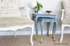 """Better After: Slate blue nesting tables with """"gold-dipped"""" legs from Dirt, Stains, and Paint Dipped Furniture, Paint Furniture, Furniture Projects, Furniture Making, Furniture Makeover, Painted Side Tables, Paint Dipping, Painted Sticks, Nesting Tables"""
