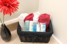 Neat towel storage great for guest bathroom
