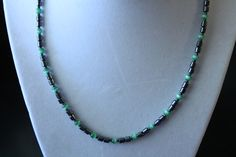 Nice Hematite with Green Beads Necklace by amyrigs on Etsy