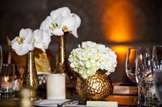 Orchids/hydrangeas/gold. Photography by julesbianchi.com