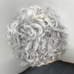 Short-To-Medium Gray Permed Hair Hairdos For Curly Hair, Grey Curly Hair, Curly Hair Cuts, Short Curly Hair, Wavy Hair, Short Hair Cuts, Curly Hair Styles, Short Hair Perms, Short Permed Hairstyles