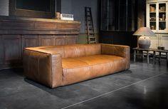 Leather three seater cognac - Lederen driezitsbank cognac uit een stuk - #WoonTheater