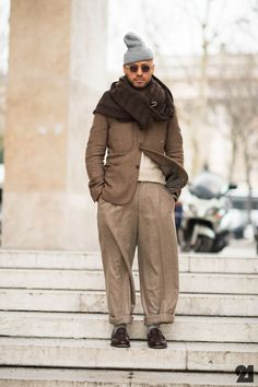 Esteban Gomez wears a Comme des Garçons jacket and scarf, Yves Saint Laurent pants, Church's shoes, Army Navy hat and Oliver Peoples sunglasses. Men Street, Street Wear, Fashion Tips For Women, Mens Fashion, Street Fashion, Milan Fashion, Looks Style, My Style, Style Men