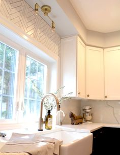Quick Ship Herringbone Kitchen Tiles | Fireclay Tile | Fireclay Tile Herringbone Tile Pattern, Fireclay Tile, Glass Brick, Student House, Blue Cabinets, Style Tile, Marble Countertops, Kitchen Tiles, New Homes