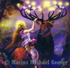 © Marius Michael George - www.mariusfineart... || Fairy & Elk || Uploaded and copyrighted by Cormaël Lia