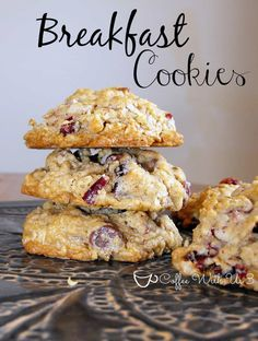 Breakfast Cookies - full of oats, coconut, dried cranberries, and cinnamon for a delicious flavorful cookie, not just for breakfast ~ ha! Baking Recipes, Cookie Recipes, Dessert Recipes, Make Ahead Breakfast, Breakfast Dishes, Breakfast Snacks, Breakfast Items, Oat Cookies, Cookies Et Biscuits
