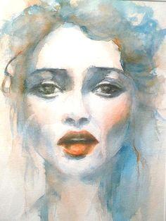 Portrait adèle aquarelle et encre couleurs douces