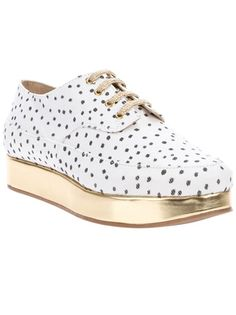 White cotton shoes from Stine Goya featuring a polka dot print, a round toe, double-stitched detailing, a gold-tone lace-up front fastening and a gold-tone handmade platform rubber sole.