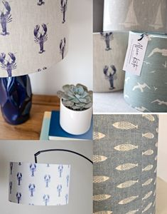 Handmade Nautical Lampshades and Coastal Beach Theme Lampshades to Shine a Light. Featured on Completely Coastal. Seaside Decor, Beach Cottage Decor, Coastal Decor, Nautical Lamp Shades, Nautical Lamps, Fabric Lampshade, Lampshades, Beach Furniture, Lamp Makeover